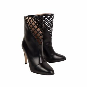 Black Leather Cut Out Design Ankle Boots/Booties
